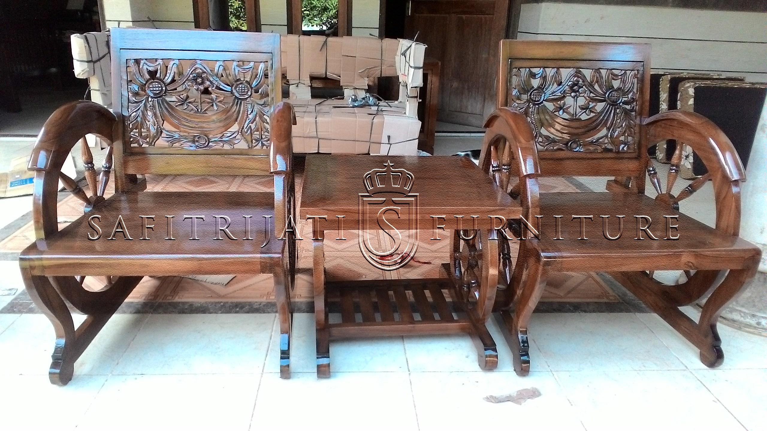 Kursi Teras Jepara Jati Ukiran Becak Safitri Furniture 1 Set