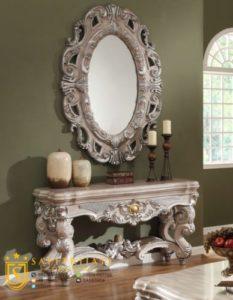 Meja Konsul Cermin Putih Mewah Terbaru
