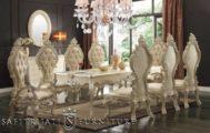 Set Kursi Makan Mewah Warna Putih Glossy